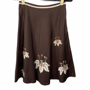 Lapis Brown Embroidered Skirt Size S Small Orange